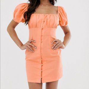 Asos Orange Button Down Mini Dress